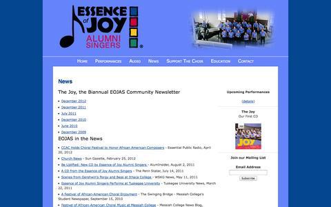 Screenshot of Press Page eojas.org - Essence of Joy Alumni Singers (EOJAS) – News - captured Oct. 3, 2014