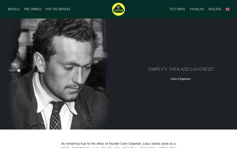 Screenshot of About Page lotuscars.com - About Lotus - Lotus Cars - Lotus - For the Drivers - captured Sept. 22, 2019