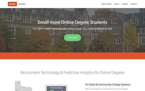 Screenshot of Home Page goranku.com - Ranku | Enroll more online degree students - captured Feb. 2, 2016
