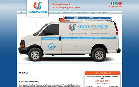 Screenshot of About Page kevosplumbing.com - About Us - Kevos Plumbing - captured Jan. 9, 2016