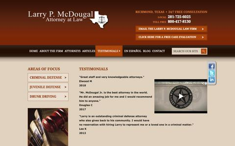 Screenshot of Testimonials Page larrymcdougal.com - Testimonials | Law Office of Larry P. McDougal | Richmond, Texas - captured Sept. 27, 2018