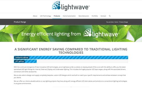 Screenshot of Products Page lightwaveuk.com - Product Range - Lightwave | LED Lighting Specialists - captured Nov. 8, 2016