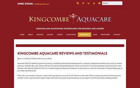 Screenshot of Testimonials Page kingcombe.com - Reviews and Testimonials - Kingcombe Aquacare - captured Feb. 12, 2016