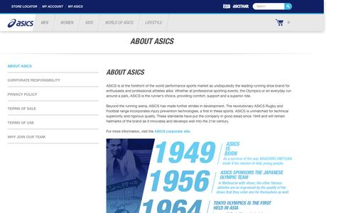 Screenshot of About Page asics.com - About ASICS | ASICS New Zealand - captured Jan. 6, 2017