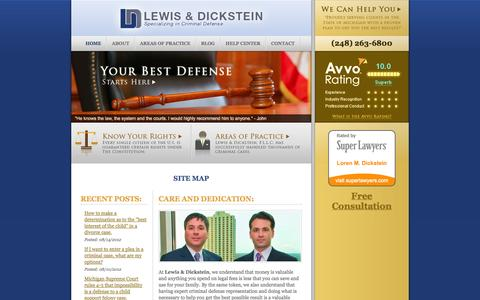 Screenshot of Site Map Page notafraidtowin.com - Site Map - Criminal Defense Attorney | Felony, Misdemeanor, Criminal Attorneys in Michigan | 248-263-6800 - captured Oct. 2, 2014