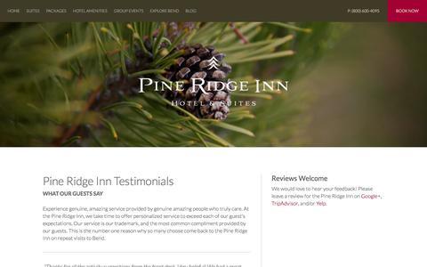 Screenshot of Testimonials Page pineridgeinn.com - Bend Hotel Reviews | Pine Ridge Inn - captured June 18, 2016