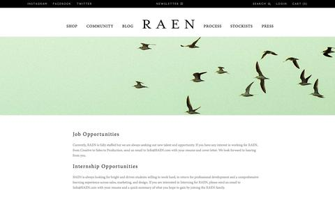 Screenshot of Jobs Page raen.com - Careers and Internships with RAEN - captured Sept. 25, 2014