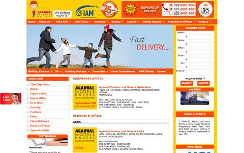 Screenshot of Locations Page agarwalpackerss.com - Locations | Branches and Location all over INDIA | Agarwal Packers and Movers - captured Sept. 24, 2014