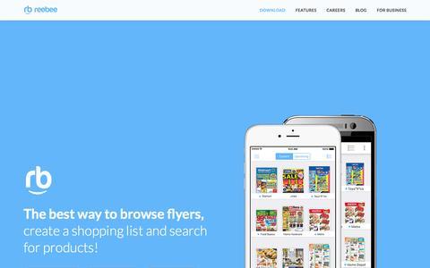 Screenshot of Home Page reebee.com - reebee   Shopping List & Flyers - captured Aug. 11, 2015