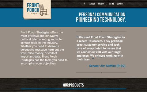 Screenshot of Products Page frontporchstrategies.us - Front Porch - captured Sept. 30, 2014