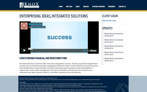 Screenshot of Home Page knoxcapitalgroup.com - ENTERPRISING IDEAS, INTEGRATED SOLUTIONS   Knox Capital - captured Sept. 30, 2014