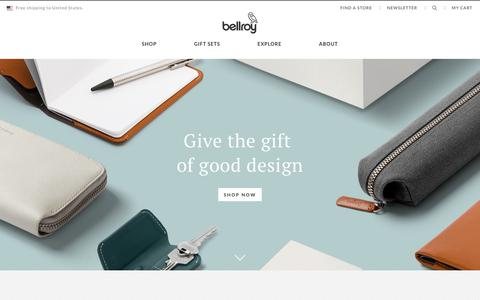 Screenshot of Home Page bellroy.com - Considered Carry Goods | Bellroy - captured Jan. 12, 2018