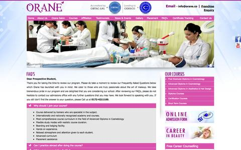 Screenshot of FAQ Page orane.co - Salon and Spa Services, Beauty Parlour Courses in Chandigarh-Punjab - captured Oct. 9, 2014