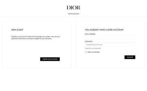 Screenshot of Login Page dior.com - Dior - captured Jan. 22, 2020