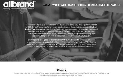 Screenshot of About Page allbrand.co.za - The AllBrand Agency is a independent digital marketing agency - captured Oct. 18, 2017