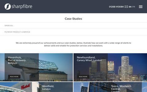 Screenshot of Case Studies Page sharpfibre.com - Case Studies | Projects & Clients | Sharpfibre - captured Nov. 17, 2018