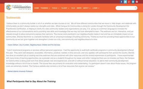 Screenshot of Testimonials Page campusforcommunities.com - Campus for Communities - Training Testimonials - captured Oct. 18, 2016