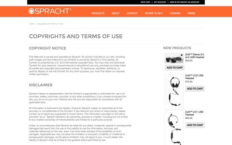 Screenshot of Terms Page spracht.com - Copyrights and Terms of Use - captured Dec. 5, 2015