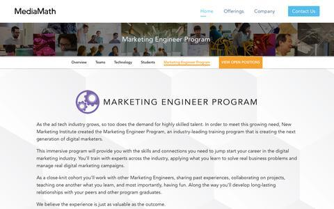 Screenshot of Jobs Page mediamath.com - Marketing Engineer Program | MediaMath - captured Nov. 18, 2019