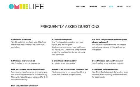 Screenshot of FAQ Page omielife.com - FAQ — OmieLife - captured Aug. 12, 2015