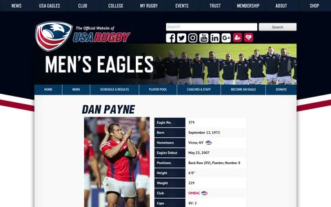 Screenshot of usarugby.org - Dan Payne | USA Rugby Eagle Profiles - captured July 23, 2016