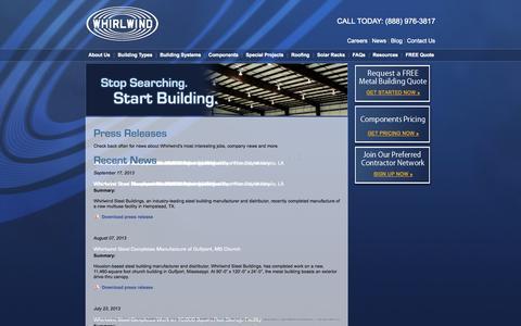 Screenshot of Press Page whirlwindsteel.com - Press Releases | Whirlwind Steel Buildings - captured Sept. 24, 2014