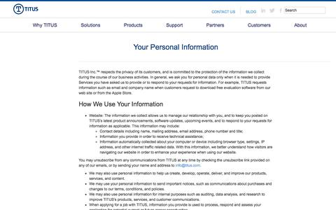 TITUS Privacy Statement