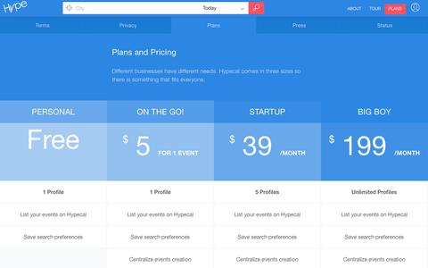 Screenshot of Pricing Page hypecal.com - Plans | Hypecal - captured Oct. 14, 2015