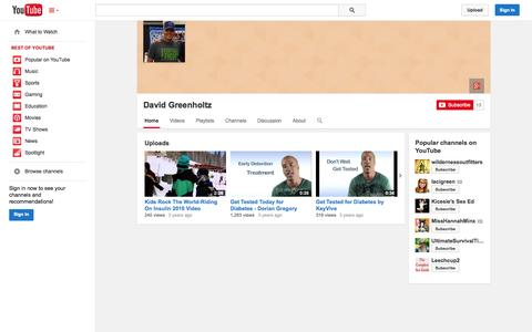 Screenshot of YouTube Page youtube.com - David Greenholtz  - YouTube - captured Oct. 22, 2014