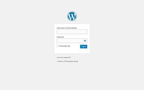 Screenshot of Login Page 123dumpsterrental.com - Log In ‹ 123 Dumpster Rental — WordPress - captured Nov. 19, 2019