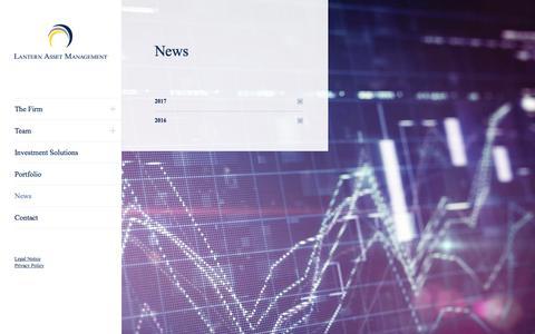 Screenshot of Press Page lanternam.com - News – Lantern Asset Management - captured July 16, 2017