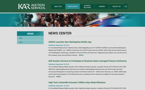 Screenshot of Press Page karauctionservices.com - News Center | KAR Auction Services - captured Oct. 6, 2014