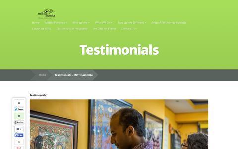 Screenshot of Testimonials Page mithilasmita.com - Testimonials - MITHILAsmita | MITHILAsmita - captured Oct. 3, 2014