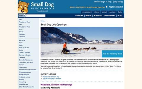 Screenshot of Jobs Page smalldog.com - Small Dog Job Openings  Small Dog Electronics - captured Oct. 4, 2014