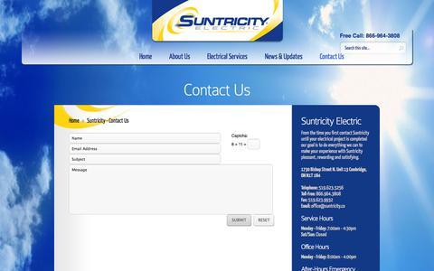 Screenshot of Contact Page suntricity.ca - Contact Us   Suntricity Electric - captured Oct. 7, 2014