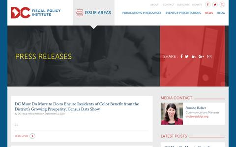 Screenshot of Press Page dcfpi.org - Press Releases Archives - DC Fiscal Policy Institute - captured Oct. 7, 2018
