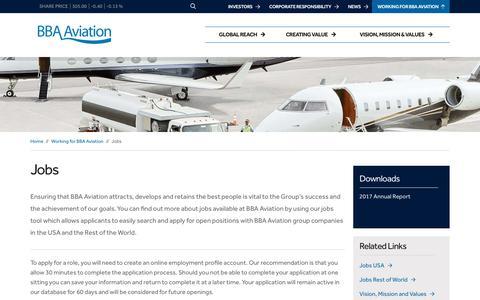 Screenshot of Jobs Page bbaaviation.com - Jobs – BBA Aviation - captured Oct. 2, 2018