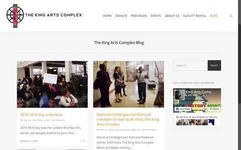 Screenshot of Blog kingartscomplex.com - Blog | The King Arts Complex - captured Feb. 15, 2016