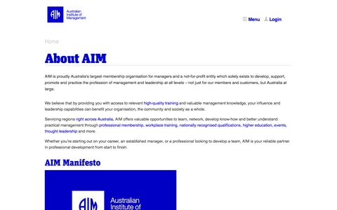 Screenshot of About Page aim.com.au - About AIM - Australian Institute of Management - captured Oct. 31, 2014