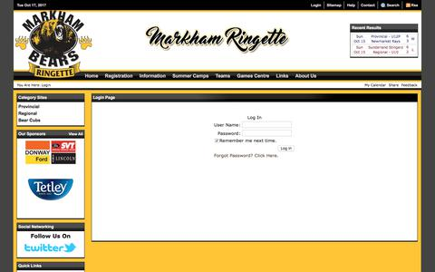 Screenshot of Login Page markhamringette.com - Login (Markham Ringette) - captured Oct. 17, 2017