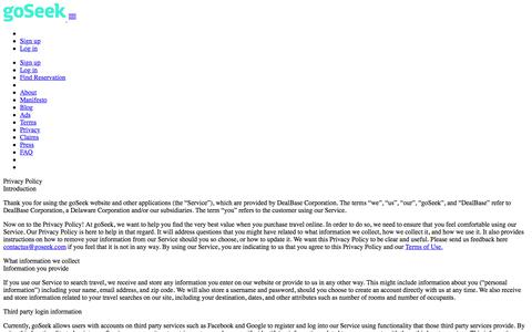 Screenshot of Privacy Page dealscience.com - goSeek.com | Hotel Discounts, Deals, and Special Offers - captured Aug. 6, 2018
