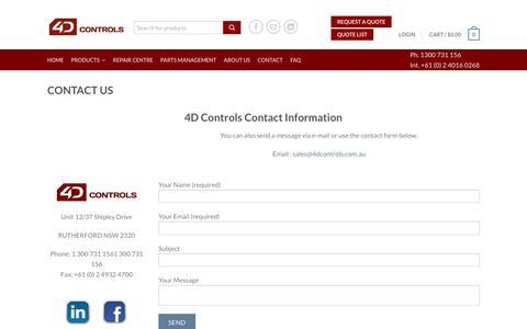 Screenshot of Contact Page 4dcontrols.com.au - 4D Controls Contact - captured Feb. 24, 2016