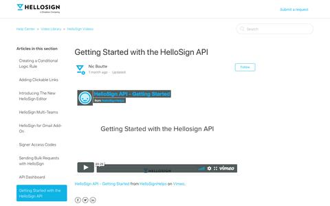 Screenshot of Support Page hellosign.com - Getting Started with the HelloSign API – Help Center - captured Feb. 21, 2020