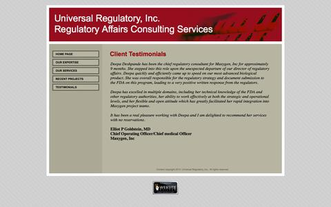 Screenshot of Testimonials Page universalregulatory.com - Testimonials - captured Oct. 7, 2014
