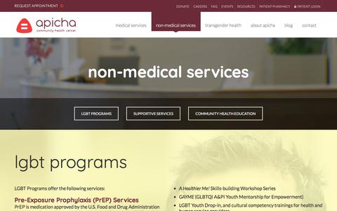 Screenshot of Services Page apicha.org - Health Education in New York City | APICHA Community Health Center - captured Oct. 8, 2017
