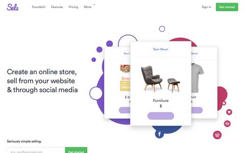 Screenshot of Home Page selz.com - Selz - Ecommerce to start and grow your business online. Free trial - captured Sept. 22, 2017