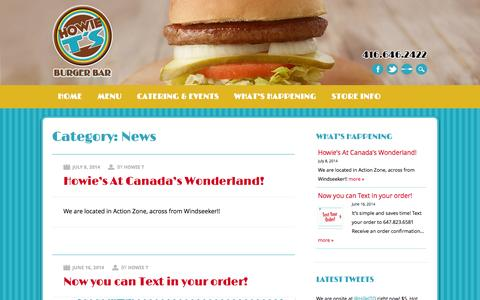 Screenshot of Press Page howiets.ca - Howie T's Burger Bar | Category | News - captured Nov. 2, 2014