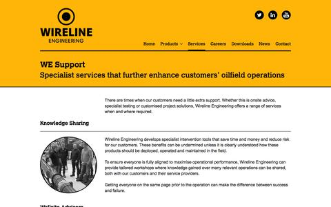 Screenshot of Services Page wireline-engineering.com - Services - Wireline Engineering - captured Oct. 7, 2014