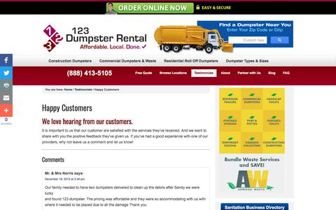 Screenshot of Testimonials Page 123dumpsterrental.com - Happy Customers Testimonials | Commercial, Residential Roll Off, Construction Demolition Dumpsters | Local Dumpster Rentals – (888) 413-5105 Toll Free | 123 Dumpster Rental - captured April 2, 2018