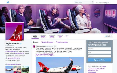 Screenshot of Twitter Page twitter.com - Virgin America (@VirginAmerica)   Twitter - captured Oct. 26, 2014